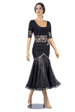 Rhinestone Ruched Stretch-Lace Ballroom & Smooth Skirt-Front View | SM Dance Fashion