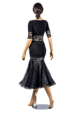 Rhinestone Ruched Stretch-Lace Ballroom & Smooth Skirt-Back View | SM Dance Fashion