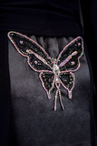 Exclusive Butterfly Embellishment Ballroom & Smooth Skirt-Back Waist Detailed View | SM Dance Fashion