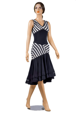 Rhinestone Asymmetrical Flounce Zebra Print Skirt-Front View | SM Dance Fashion