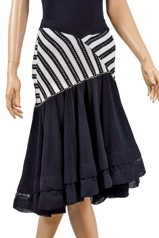 Rhinestone Asymmetrical Flounce Zebra Print Skirt-Front Bottom View | SM Dance Fashion