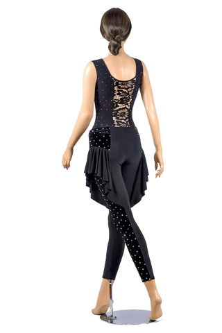 Rhinestone Lace Sleeveless Blouse-Back View | SM Dance Fashion