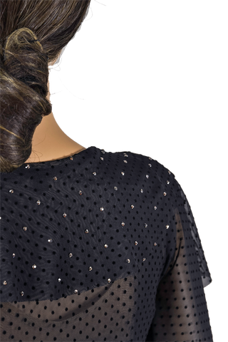 Rhinestone Exclusive Polka-Dot Frill Blouse-Front Top Detailed View | SM Dance Fashion
