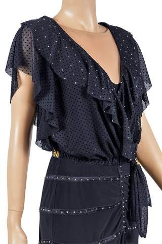 Rhinestone Exclusive Polka-Dot Frill Blouse-Front Top View | SM Dance Fashion