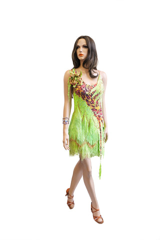 Lime Green Fringe Latin Competition Dress - Where to Buy Dancewear SM Dance Fashion Competition Outfit Costume