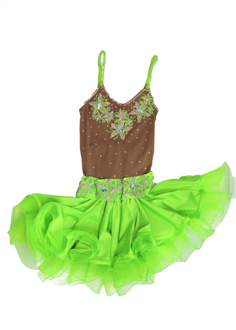 Kids Lime Green Latin Competition Dress - Where to Buy Dancewear SM Dance Fashion Competition Outfit Costume