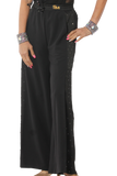 Rhinestone Satin Sides Slits Ballroom & Smooth Trousers