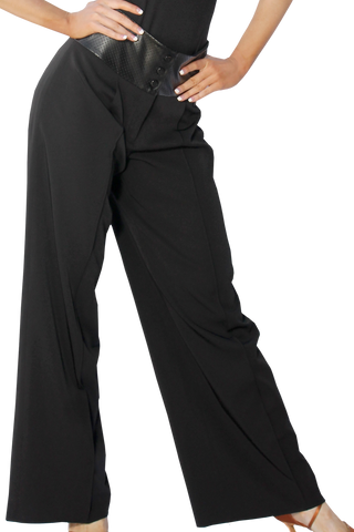 Leatherette High Waist Wide Ballroom & Smooth Trousers