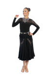 Ruched Cascading Lace Ballroom & Smooth Skirt - Where to Buy Dancewear SM Dance Fashion Competition Outfit Costume