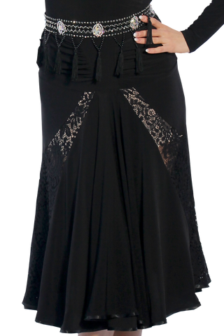 Ruched Cascading Lace Ballroom & Smooth Skirt