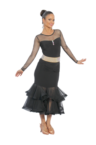 Crystal Drapped Long Sleeve Blouse - Where to Buy Dancewear SM Dance Fashion Competition Outfit Costume