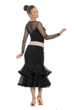 Gathered Bow w/ Mesh Trim Ballroom & Smooth Skirt - Where to Buy Dancewear SM Dance Fashion Competition Outfit Costume