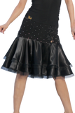Rhinestone Layered Satin Latin & Rhythm Skirt - Where to Buy Dancewear SM Dance Fashion Competition Outfit Costume