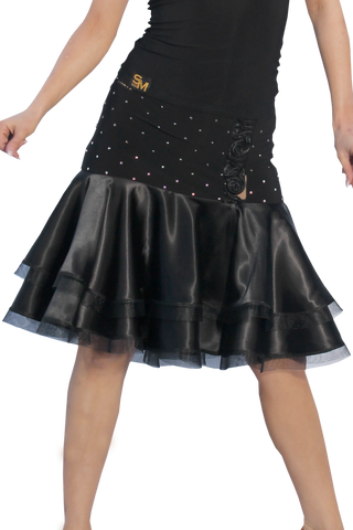 Rhinestone Layered Satin Latin & Rhythm Skirt