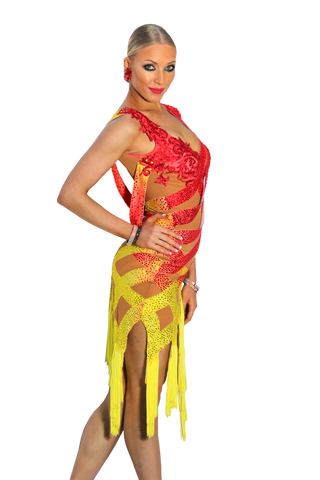 Yellow and Red Latin Competition Dress - Where to Buy Dancewear SM Dance Fashion Competition Outfit Costume