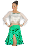 White/Green Two Pieces Latin & Rhythm Competition Dress