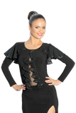Cascading Frills Butterfly Sleeves Blouse - Where to Buy Dancewear SM Dance Fashion Competition Outfit Costume