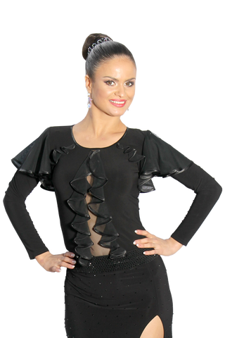 Cascading Frills Butterfly Sleeves Blouse