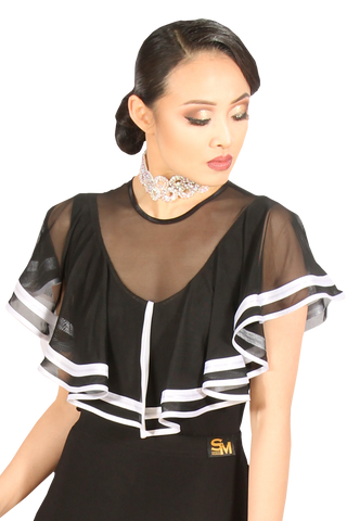 Divided Mesh Flounce Blouses - Where to Buy Dancewear SM Dance Fashion Competition Outfit Costume