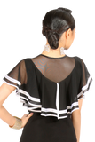 Divided Mesh Flounce Blouses