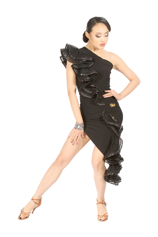 Asymmetrical Cascading Frill Latin Skirt - Where to Buy Dancewear SM Dance Fashion Competition Outfit Costume