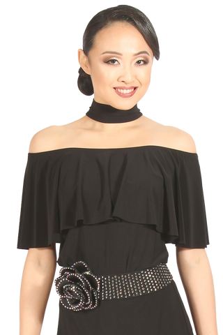 Off The Shoulder High Neck Blouse - Where to Buy Dancewear SM Dance Fashion Competition Outfit Costume