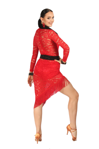 High Neckline Asymmetrical Lace Latin & Rhythm Dress - Where to Buy Dancewear SM Dance Fashion Competition Outfit Costume
