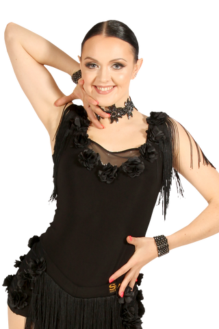Square Neck Flower & Fringe Mesh Blouse - Where to Buy Dancewear SM Dance Fashion Competition Outfit Costume
