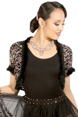 Rhinestones Fur Finish Bolero Jacket - Where to Buy Dancewear SM Dance Fashion Competition Outfit Costume
