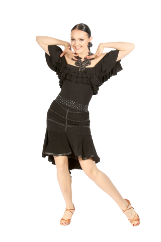 Rhinestone Flounce Latin & Rhythm Skirt - Where to Buy Dancewear SM Dance Fashion Competition Outfit Costume