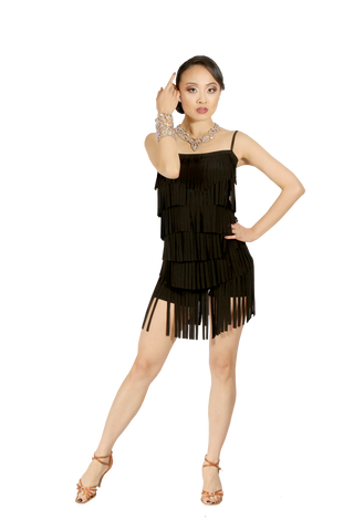 Spaghetti Straps Fringe Body Suit - Where to Buy Dancewear SM Dance Fashion Competition Outfit Costume