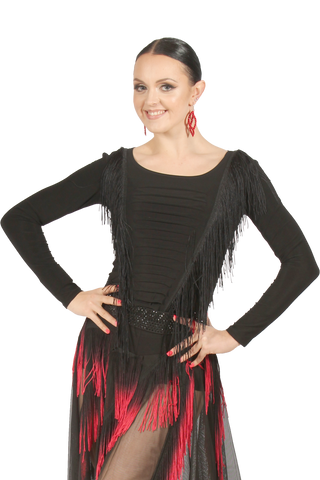 Cascading Fringe Long Sleeves Ballroom & Latin Blouse
