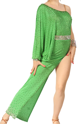 Bat Sleeve Green Long Latin & Rhythm Competition Dress