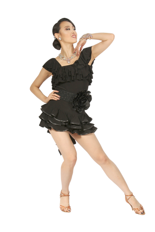 Double Shoulder Flounce Blouse - Where to Buy Dancewear SM Dance Fashion Competition Outfit Costume
