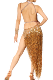 Gold High-Neck Asymmetrical Latin Competition Dress - Where to Buy Dancewear SM Dance Fashion Competition Outfit Costume