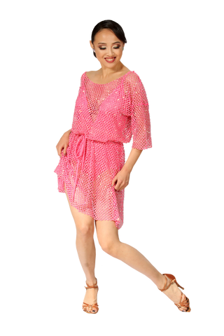 Pink Transparent Relaxed Fit Latin & Rhythm Competition Dress