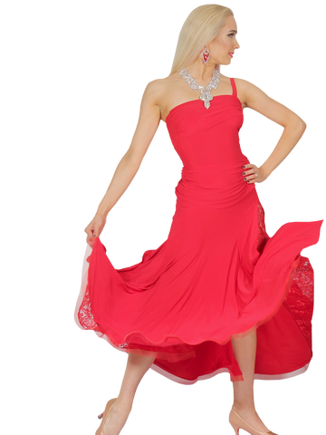 Red Peekaboo Slit Lace Ballroom & Smooth Dress - Where to Buy Dancewear SM Dance Fashion Competition Outfit Costume