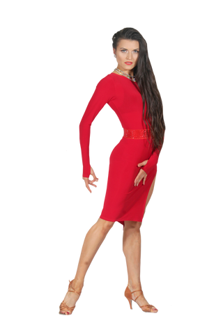Red Bodycon Long Sleeve Latin & Rhythm Dress - Where to Buy Dancewear SM Dance Fashion Competition Outfit Costume