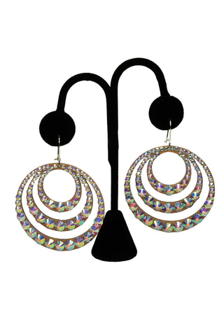 Triple Hoop Crystal Drop Earrings-Front View | SM Dance Fashion