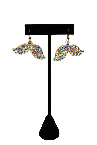 Crystal Mermaid Tail Drop Earrings-Front View | SM Dance Fashion