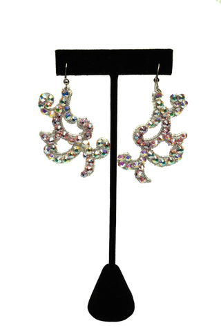 Crystal Petals Drop Earrings-Front View | SM Dance Fashion