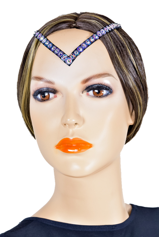 V-Shape Rhinestone-Sequins Hair Piece-Front View | SM Dance Fashion