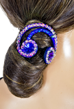 Blue Rainbow Shape Vector Hair Piece-Front Close-up View | SM Dance Fashion