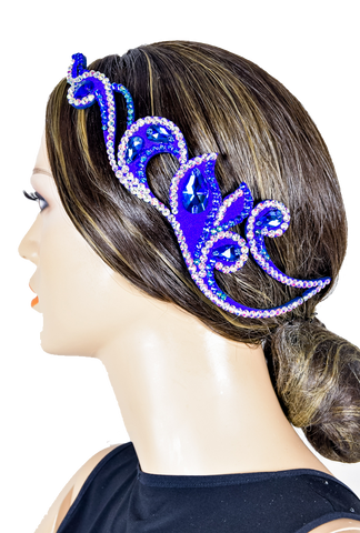 Blue Center Piece Teadrop Hair Piece-Front View | SM Dance Fashion