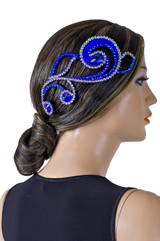 Blue Flower Hair Piece-Front View | SM Dance Fashion