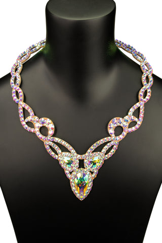 Tri-Crystal Accent Princess Necklace-Front View | SM Dance Fashion
