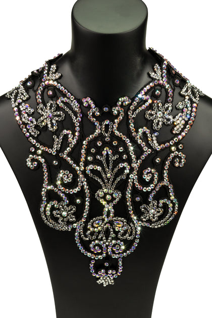 Crystallized Plastron Necklace-Front View | SM Dance Fashion