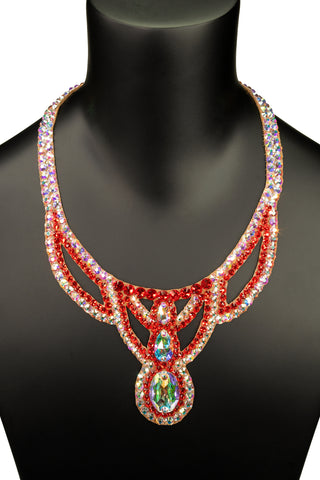 Crimson Crystal Opera Necklace-Front View | SM Dance Fashion