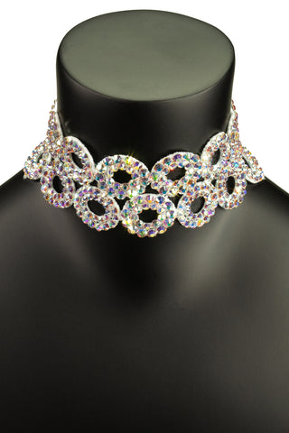 Circular Crystal Choker Necklace-Front View | SM Dance Fashion