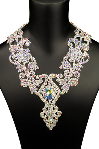 Crystallized Diamond Center Rosary Necklace-Front View | SM Dance Fashion